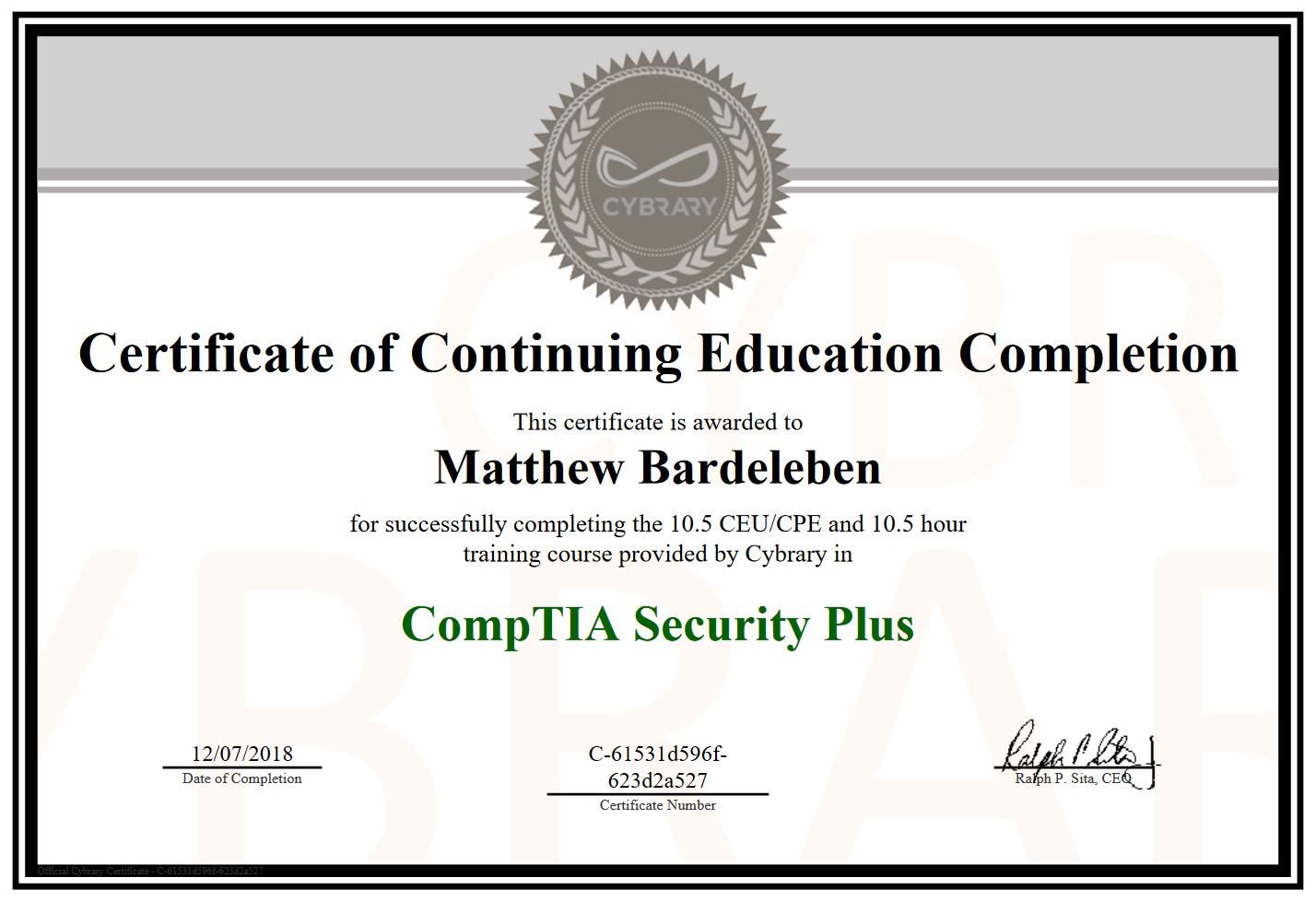 Matthew Bardeleben - CompTIA Security+ Course Certification - Cybrary.it - Matty Bv3