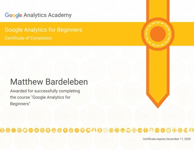 Matthew Bardeleben - Google Analytics Certification - Analytics Academy - Matty Bv3