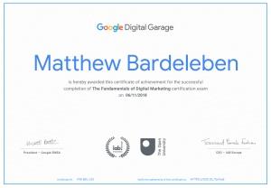 Matthew Bardeleben - Google Certification - Digital Marketing - Google Digital Garage - Matty Bv3