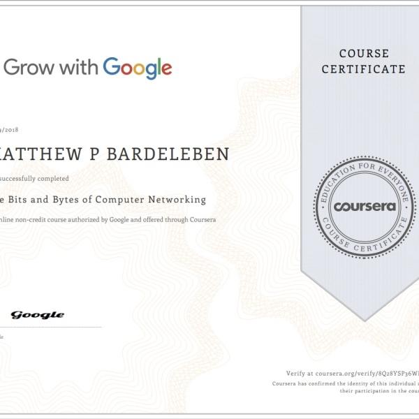 Matthew Bardeleben - Google Certification - The Bits and Bytes of Computer Networking - Coursera_org - Matty Bv3