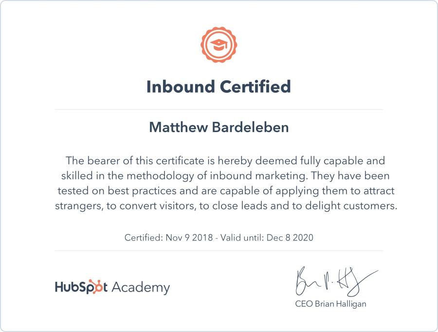Matthew Bardeleben - HubSpot Academy Certification - Inbound Certified