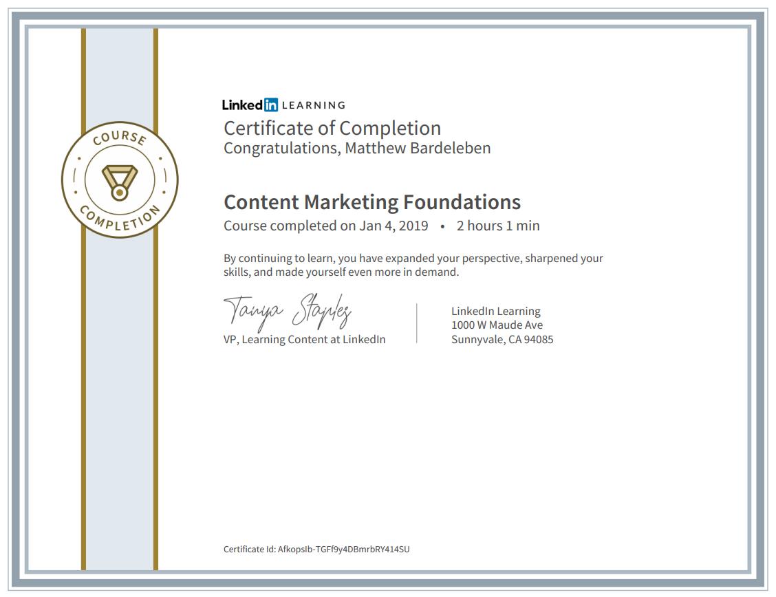 Matthew Bardeleben - Content Marketing Certification - LinkedIn Learning - Marketing Foundations