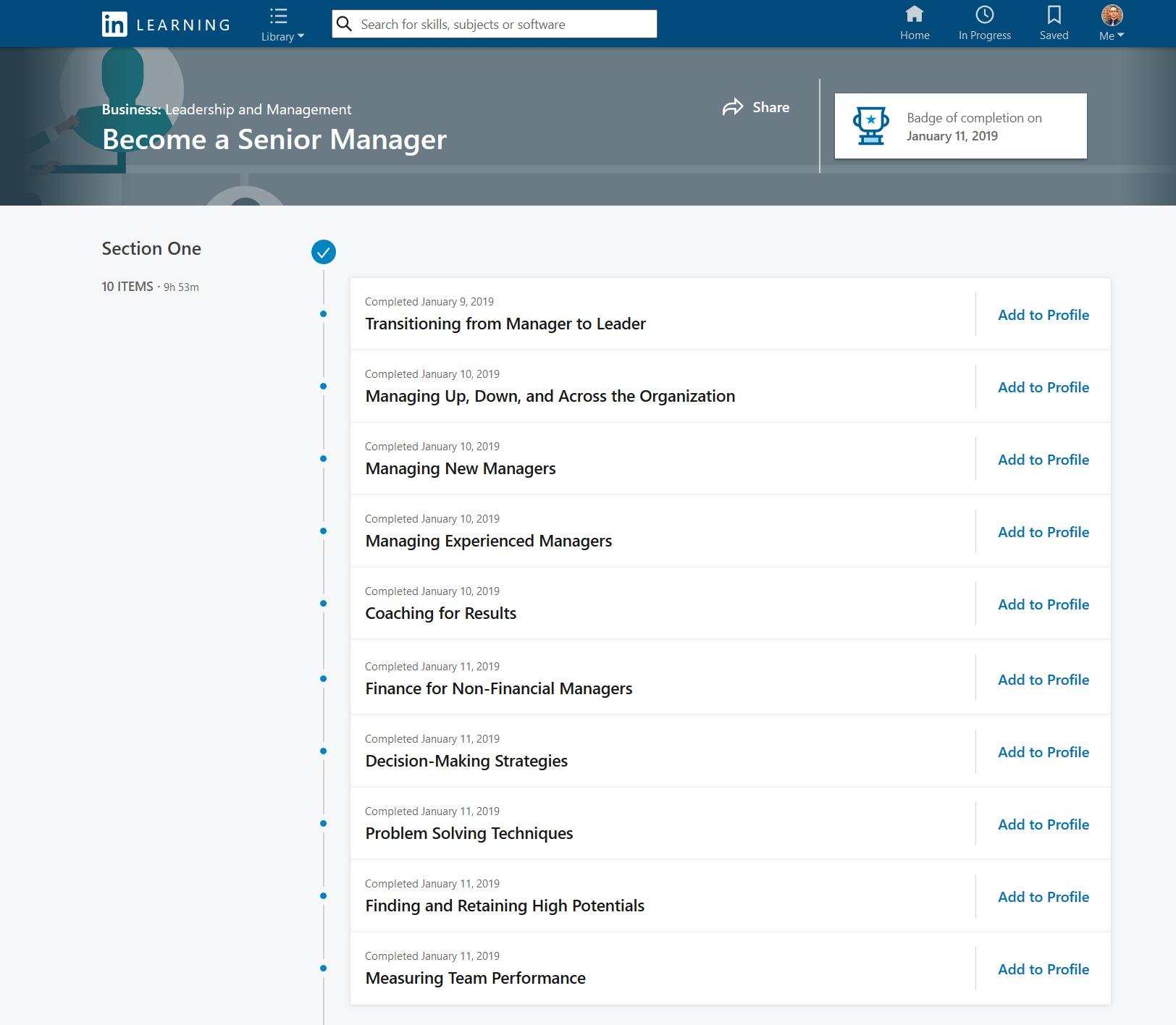 Matthew Bardeleben - Executive Leadership Senior Manager Certification - LinkedIn Learning Path